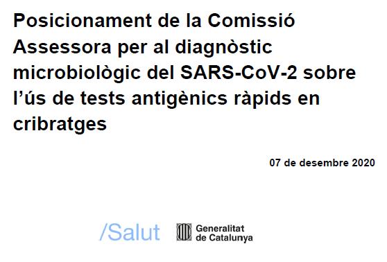 Informe de Posicionament sobre l'ús de tests antigènics ràpids