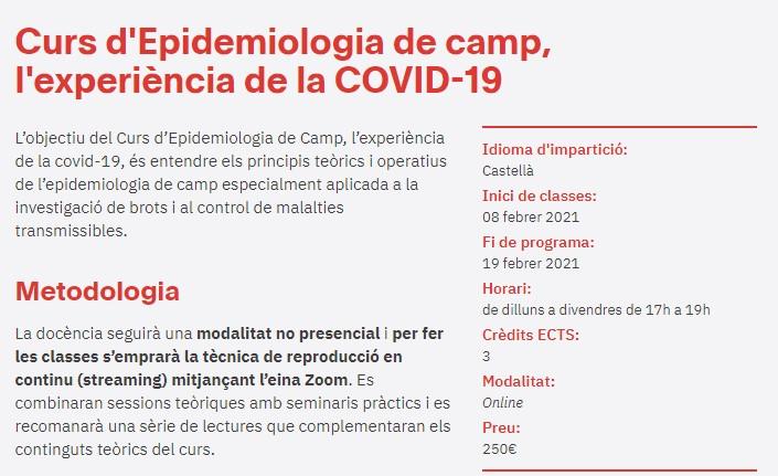 Curs Epidemiologia de camp, l'experiència de la COVID-19